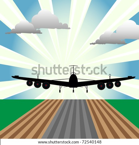 Abstract colorful illustration with plane at takeoff seen from the front size of the plane. Takeoff concept - stock vector