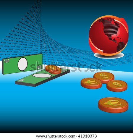 Abstract colorful illustration with red globe surrounded by two red arrows, green banknotes and coins. Money theme - stock vector
