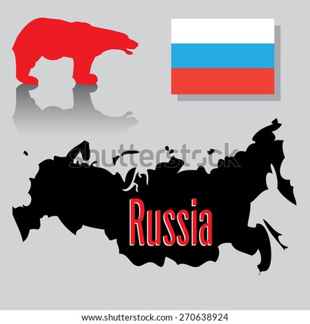Abstract colorful illustration with Russian flag, red bear and the shape of Russia on the lower side of the image - stock vector