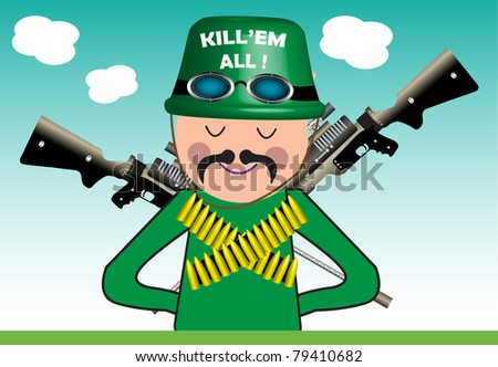Abstract colorful illustration with soldier armed with bullets and rifles - stock vector