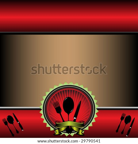 Abstract colorful illustration with tableware. Menu concept - stock vector
