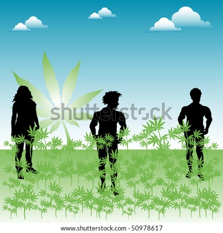 Abstract colorful illustration with three people standing in the middle of a field of cannabis. Green field of marijuana - stock vector