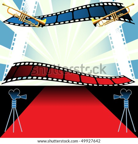 Abstract colorful illustration with trumpets, colorful filmstrips, movie projectors and red carpet. Movie festival concept - stock vector