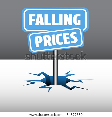 Abstract colorful illustration with two blue plates with the text falling prices, coming out from an ice crack - stock vector