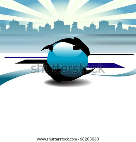 Abstract colorful illustration with two fishes swimming around a blue sphere in front of the skyscrapers of a town. Corporate business template - stock vector
