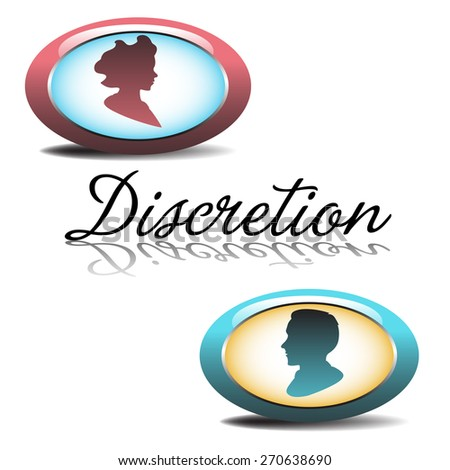 Abstract colorful illustration with two oval symbols, symbolizing a man and a woman and the word discretion written between the two symbols. Discretion concept - stock vector