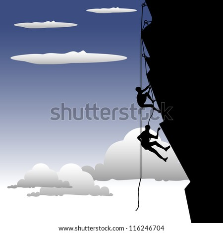 Abstract colorful illustration with two people climbing on rocks using ropes - stock vector