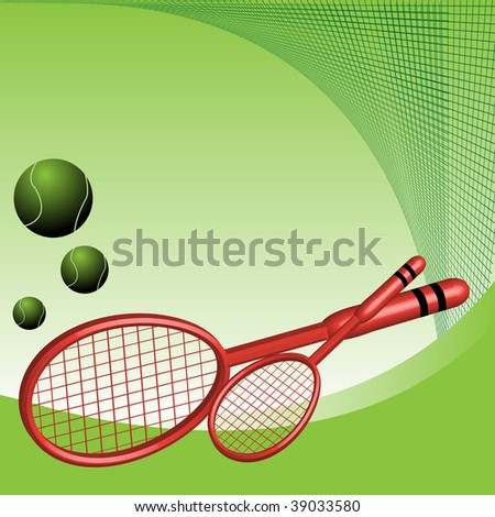 Abstract colorful illustration with two tennis rackets and tennis balls
