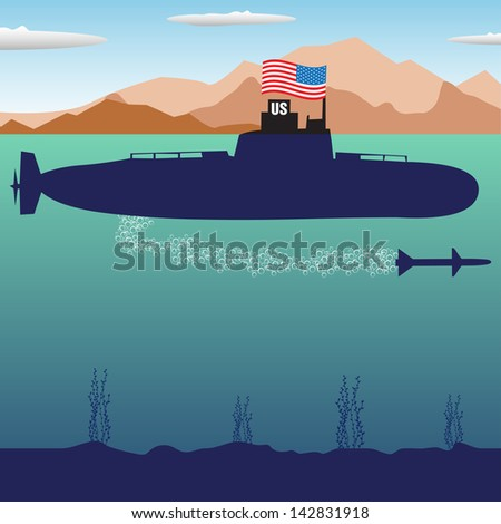 Abstract colorful illustration with U.S. submarine launching an underwater torpedo. War concept - stock vector