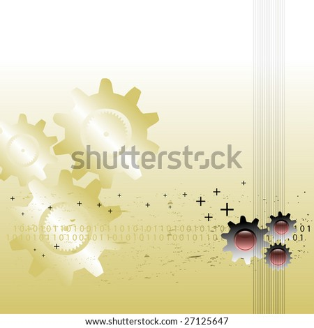 Abstract colorful illustration with various gears, binary numbers and small plus symbols - stock vector