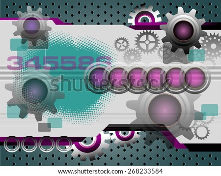 Abstract colorful illustration with various metallic elements and metallic gears. High tech background concept - stock vector