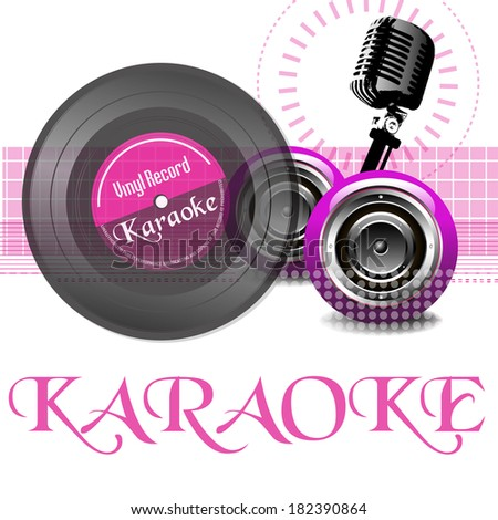 Abstract colorful illustration with vinyl record, old microphone, loudspeakers and the word karaoke written with pink letters - stock vector
