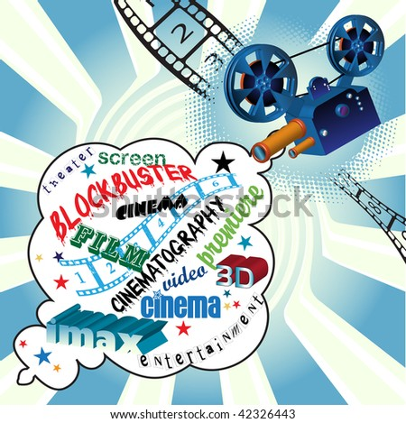 Abstract colorful illustration with words related to cinema coming out from a movie projector. Cinema concept - stock vector