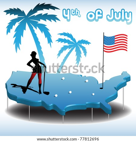 Abstract colorful illustration with young woman playing golf on the map of United States of America on fourth of July - stock vector