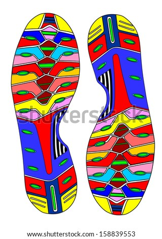 Abstract colorful imprint soles shoes vector isolated on white background.
