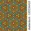 Abstract colorful kaleidoscope seamless pattern in blue and brown, vector - stock vector