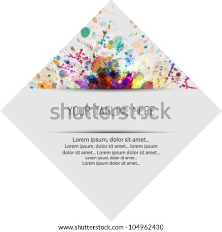 Abstract colorful label, tag, text box. Splash watercolor background illustration - stock vector