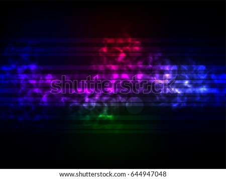 Abstract colorful light and smoke on black background. Vector illustration of bokeh.