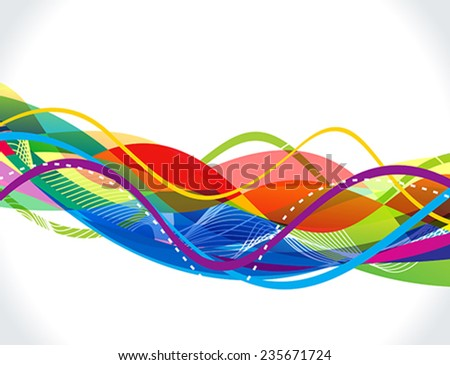 abstract colorful line wave background vector illustration - stock vector