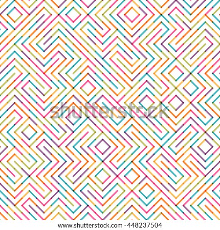 Abstract colorful lines labyrinth seamless background. Easy to change colors. - stock vector