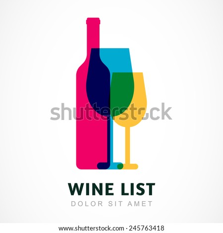 Abstract colorful logo design template. Wine bottle and glass vector icon. Concept for bar menu, party, alcohol drinks, celebration holidays. - stock vector