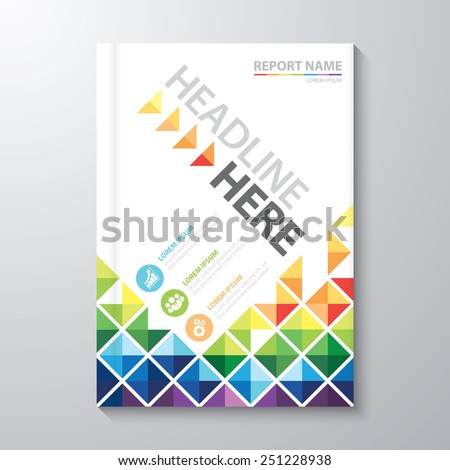Abstract colorful low polygon background. Cover design template layout in A4 size for annual report, brochure, flyer, Vector illustration - stock vector