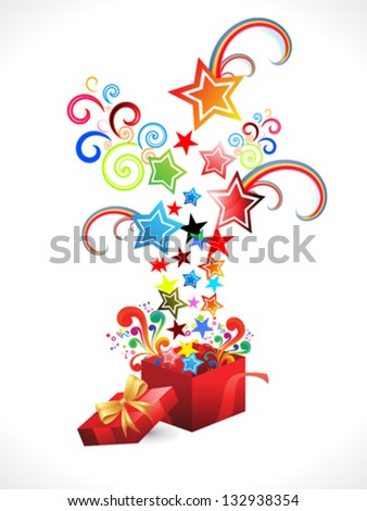 abstract colorful magic box explode vector illustration - stock vector