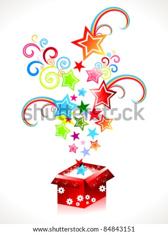 abstract colorful magic box with stars vector illustration - stock vector