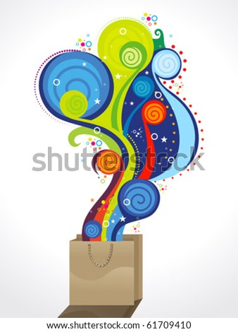abstract colorful magical shopping bag vector illustration