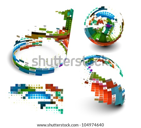 abstract colorful mosaic design, vector illustration. - stock vector
