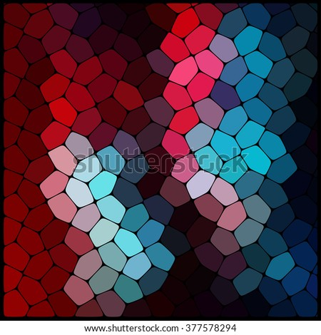 Abstract colorful mosaic pattern. Red, blue, black colors.  Abstract background consisting of elements of different shapes arranged in a mosaic style. Vector illustration. - stock vector