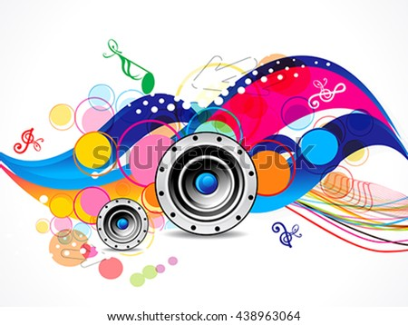 abstract colorful musical background with speaker vector illustration