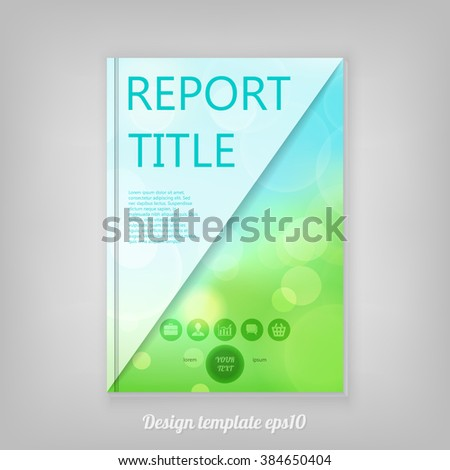 Abstract colorful natural Report cover template design with bokeh lights. Business brochure document layout for company presentations. - stock vector