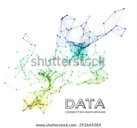 Abstract colorful network data connection. Vector technology background on white - stock vector
