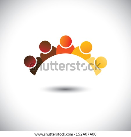 Abstract colorful office staff or employees sign ( icon )- vector graphic. This illustration can represent group discussion, employee meetings, interaction in schools among children & kids - stock vector
