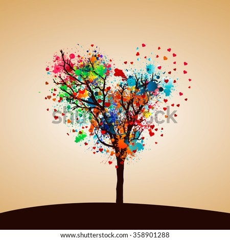Abstract colorful paint splash tree. - stock vector