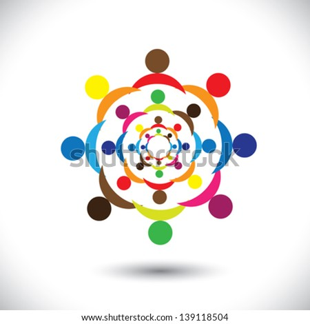 Abstract colorful people signs in circles- vector graphic. This icon illustration can also represent concept of children playing together or friendship or team building or group activity,etc - stock vector
