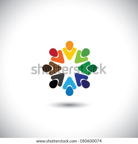abstract colorful people together as circle - concept vector. This graphic also represents internet community, team work and team building, social media, employees meetings, office staff, etc - stock vector