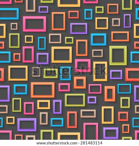 Abstract colorful picture frames seamless background. - stock vector