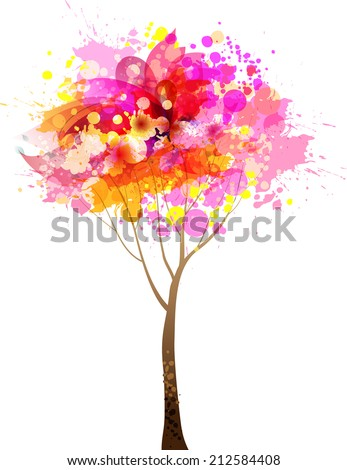 Abstract colorful pink tree. Vector  illustration - stock vector