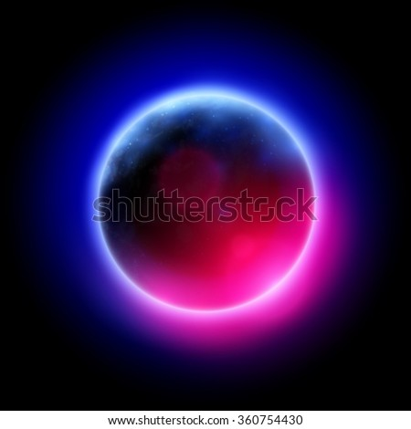 abstract colorful planet illustration - stock vector