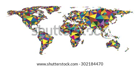 Abstract colorful polygonal geometric design world map, vector illustration - stock vector