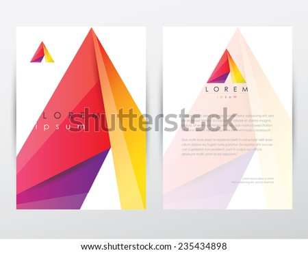 abstract colorful polygonal style brochure flyer template and letterhead design for business with letter a logo icon- geometric overlapping shapes pattern - stock vector