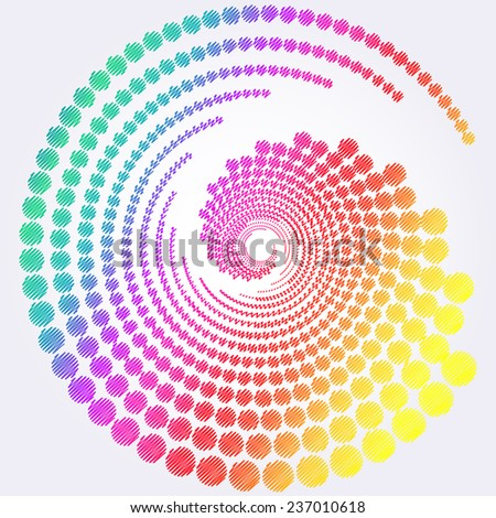 Abstract colorful rainbow swirly illustration, logo design - stock vector