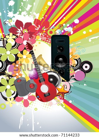 abstract colorful rays background with grungy artwork, musical instrument, vector illustration