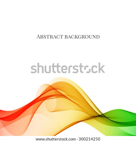 Abstract colorful, red, yellow and green, wave background, vector illustration. - stock vector
