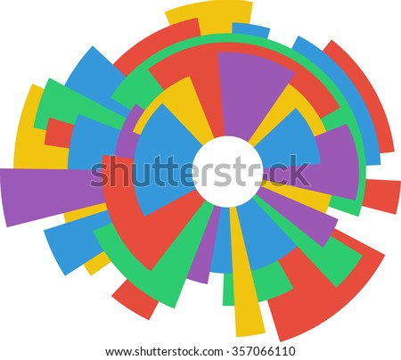 Abstract Colorful Ring Wheel Design - stock vector