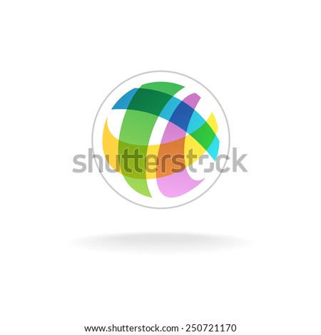 Abstract colorful round sphere logo template - stock vector