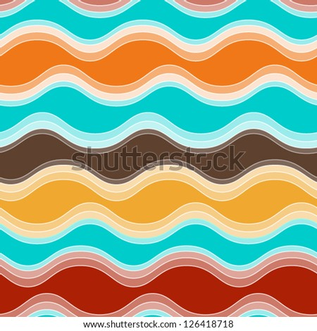 Abstract colorful seamless abstract hand-drawn pattern, waves background. vector illustration - stock vector