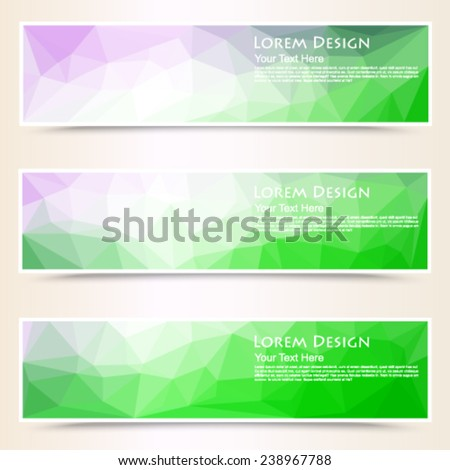 abstract colorful set of shiny polygonal banners. Vector, EPS 10